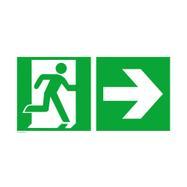 Vészkijárat jobbra, iránymutató nyíl jobbra