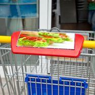 Reklámtáblatartó bevásárlókocsi markolatára