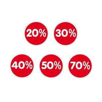 """Matrica """"százalék"""", különböző árcsökkentésekhez"""