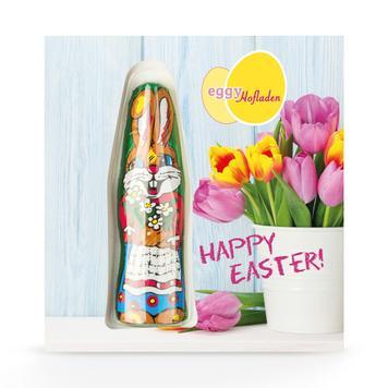 Kartonból készült kártya csokinyuszival, egyedi nyomattal