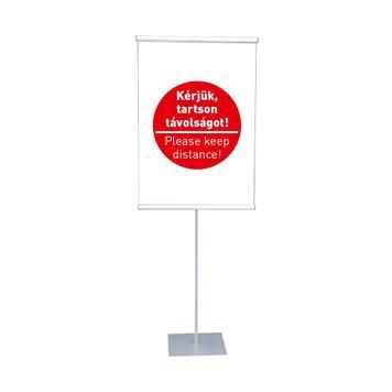 """""""KN"""" poszter és banner display """"Kérjük, tartson távolságot"""" plakáttal"""