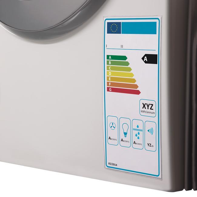 Védőtok energiafogyasztási címkéhez, öntapadó ragasztókoronggal