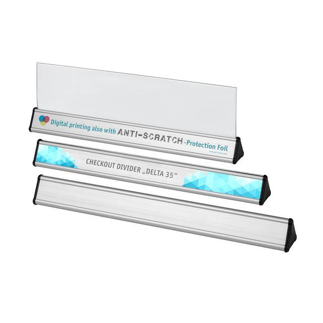 Alumínium pénztári elválasztó rúd/áruelválasztó, háromszög metszetű
