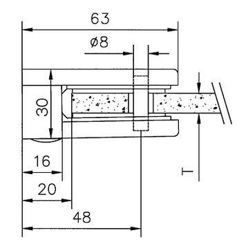 Üvegcsíptető falakra (6, 8 und 10 mm) szereléshez