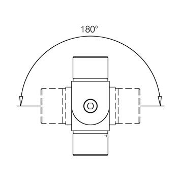 Csőösszekötő, belső, rozsdamentes acél hatású,  - 90°-tól + 90°-ig